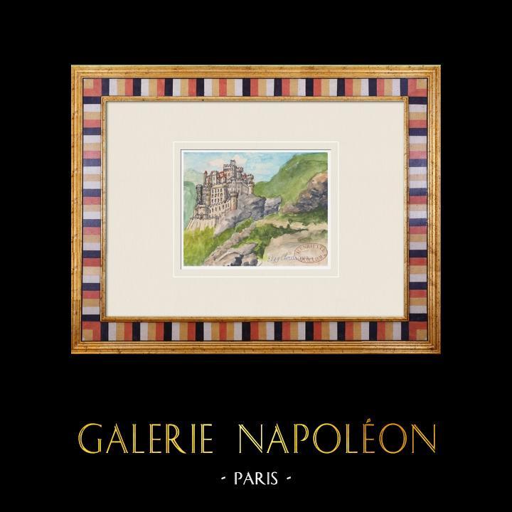 Gravures Anciennes & Dessins | Château imaginaire - Château de Clairvaux - Vienne - France (Henriette Quillier) | Aquarelle | 1960