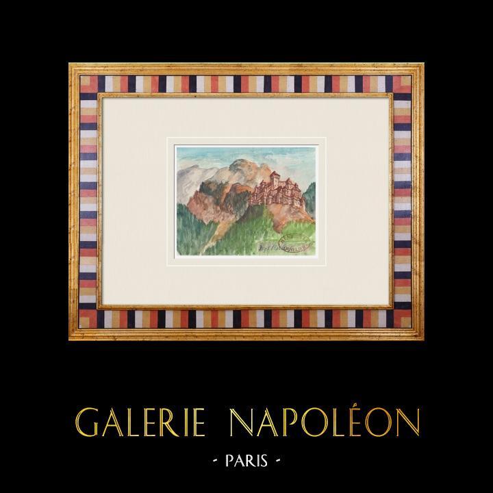 Antique Prints & Drawings   Imaginary Castle - Rorthey - Vosges - France (Henriette Quillier)   Watercolor painting   1960