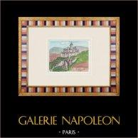 Château imaginaire - La Chapelle-sur-Oreuse - Yonne - France (Henriette Quillier) | Aquarelle originale sur papier peinte par Henriette Quillier (1897-?). Cachet de l'artiste. 1960