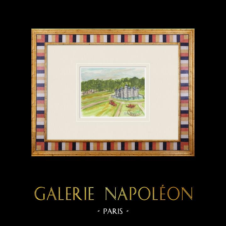 Gravures Anciennes & Dessins   Château imaginaire - Jussy - Yonne - France (Henriette Quillier)   Aquarelle   1960
