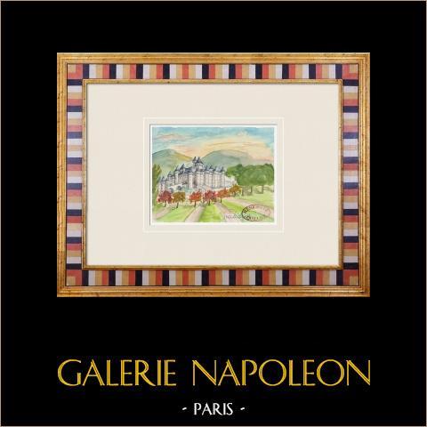 Imaginärt slott - La Chapelle-sur-Oreuse - Yonne - Frankrike (Henriette Quillier) | Original akvarell på pappers måla av Henriette Quillier (1897-?). Konstnärens stämpel. 1960