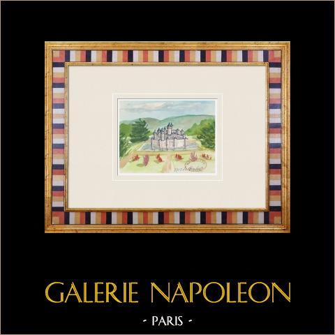 Imaginärt slott - Montigny-la-Resle - Yonne - Frankrike (Henriette Quillier) | Original akvarell på pappers måla av Henriette Quillier (1897-?). Konstnärens stämpel. 1960