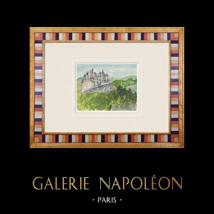 Gravures Anciennes & Dessins | Château imaginaire - Lézinnes - Yonne - France (Henriette Quillier) | Aquarelle | 1960