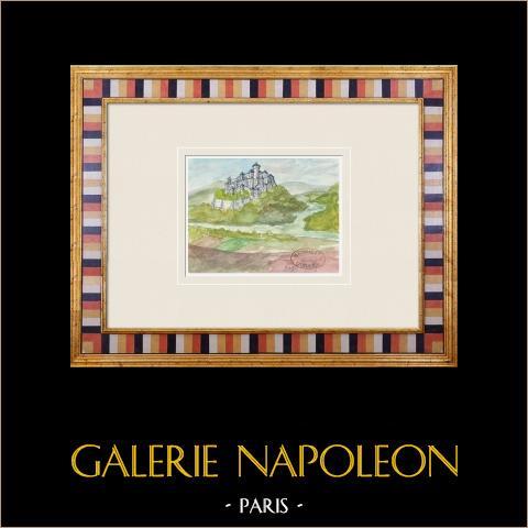 Imaginärt slott - Mailly-le-Château - Yonne - Frankrike (Henriette Quillier) | Original akvarell på pappers måla av Henriette Quillier (1897-?). Konstnärens stämpel. 1960