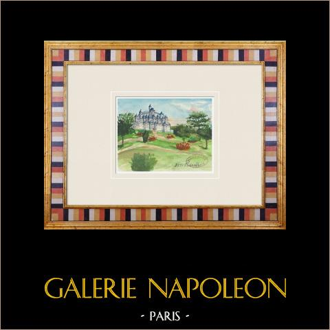 Imaginärt slott - Pimelles - Yonne - Frankrike (Henriette Quillier) | Original akvarell på pappers måla av Henriette Quillier (1897-?). Konstnärens stämpel. 1960