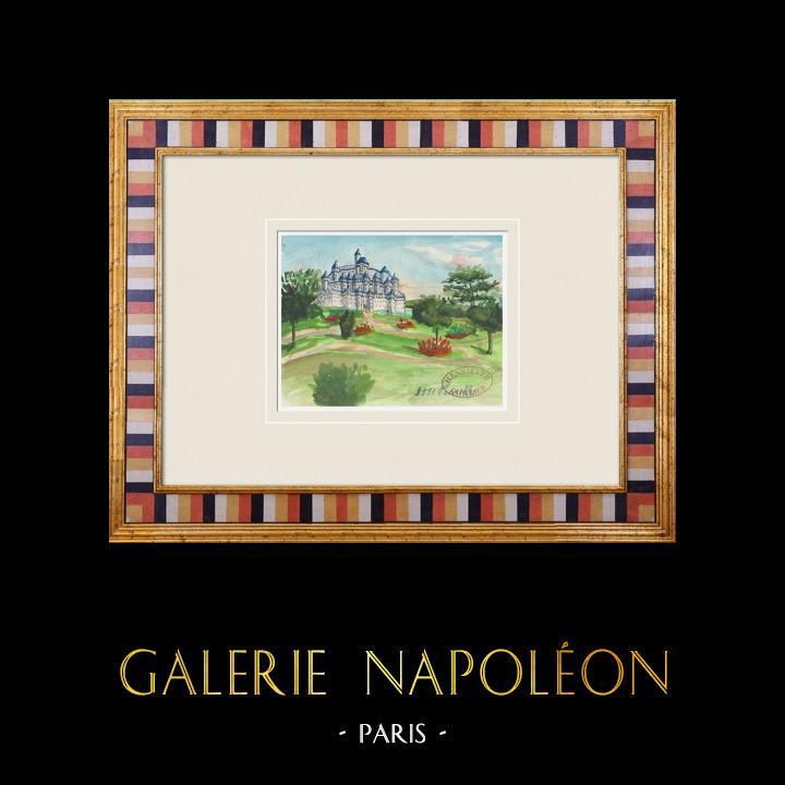 Gravures Anciennes & Dessins | Château imaginaire - Pimelles - Yonne - France (Henriette Quillier) | Aquarelle | 1960