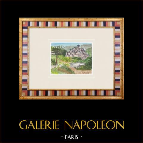 Imaginärt slott - Seignelay - Yonne - Frankrike (Henriette Quillier) | Original akvarell på pappers måla av Henriette Quillier (1897-?). Konstnärens stämpel. 1960