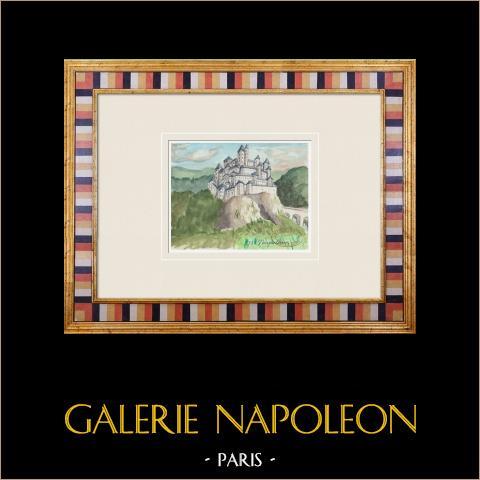 Imaginärt slott - Vauguillain - Yonne - Frankrike (Henriette Quillier) | Original akvarell på pappers måla av Henriette Quillier (1897-?). Konstnärens stämpel. 1960