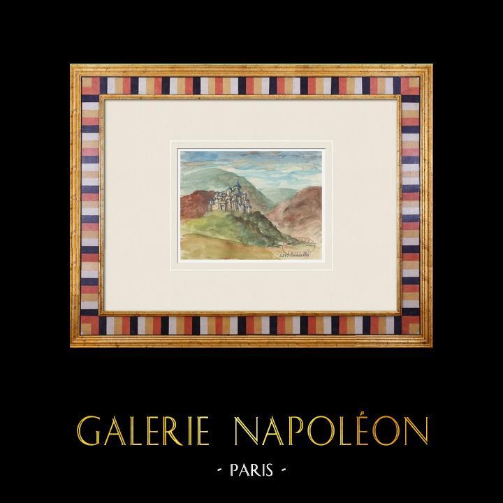 Gravures Anciennes & Dessins | Château imaginaire - Courcelles - Territoire de Belfort - France (Henriette Quillier) | Aquarelle | 1960