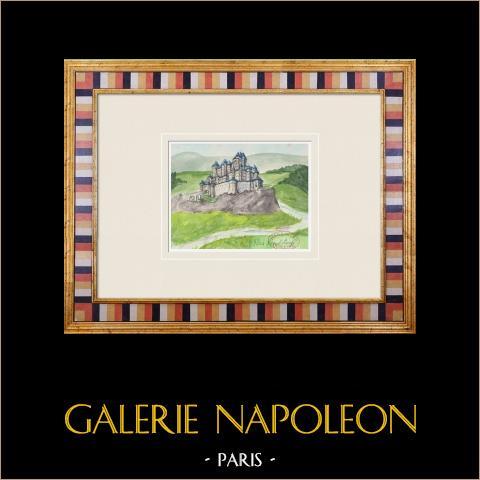 Castello immaginario - Saint-Loup - Giura - Jura - Francia (Henriette Quillier) | Acquarello originale su carta dipinto da Henriette Quillier (1897-?). Timbro dell'artista. 1960