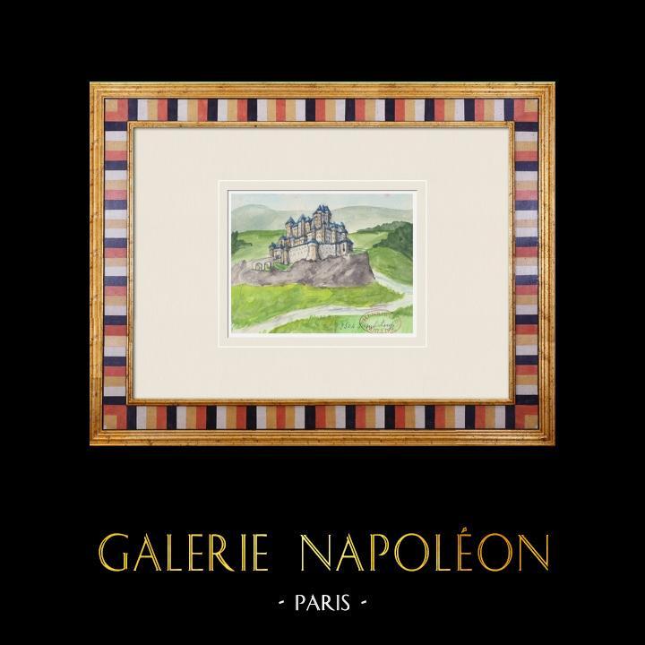 Gravures Anciennes & Dessins | Château imaginaire - Saint-Loup - Jura - France (Henriette Quillier) | Aquarelle | 1960