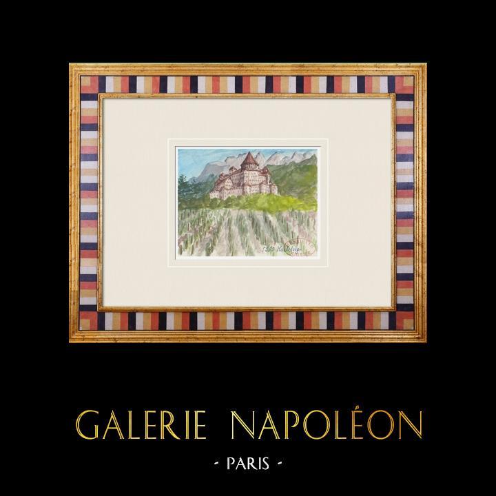 Antique Prints & Drawings | Imaginary Castle - Karlsberg - Carinthia - Austria (Henriette Quillier) | Watercolor painting | 1960