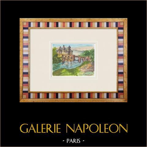 Imaginary Castle - Neuf-Marché - Seine-Maritime - France (Henriette Quillier) | Original watercolor painting on paper paint by Henriette Quillier (1897-?). Stamp of the artist. 1960