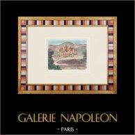 Château imaginaire - La Galle - Uchaux - Vaucluse - France (Henriette Quillier) | Aquarelle originale sur papier peinte par Henriette Quillier (1897-?). Cachet de l'artiste. 1960