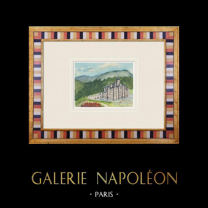 Antique Prints & Drawings   Imaginary Castle - Roussay - Maine-et-Loire - France (Henriette Quillier)   Watercolor painting   1960