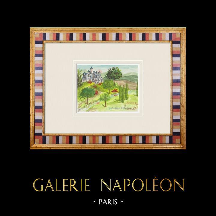 Antique Prints & Drawings   Imaginary Castle - Doué-la-Fontaine - Maine-et-Loire - France (Henriette Quillier)   Watercolor painting   1960