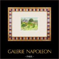 Château imaginaire - Doué-la-Fontaine - Maine-et-Loire - France (Henriette Quillier) | Aquarelle originale sur papier peinte par Henriette Quillier (1897-?). Cachet de l'artiste. 1960