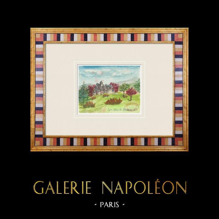 Gravures Anciennes & Dessins | Château imaginaire - Doué-la-Fontaine - Maine-et-Loire - France (Henriette Quillier) | Aquarelle | 1960