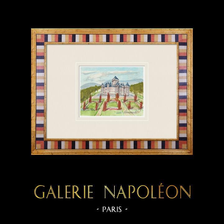 Antique Prints & Drawings   Imaginary Castle - Launeuil - Vienne - France (Henriette Quillier)   Watercolor painting   1960