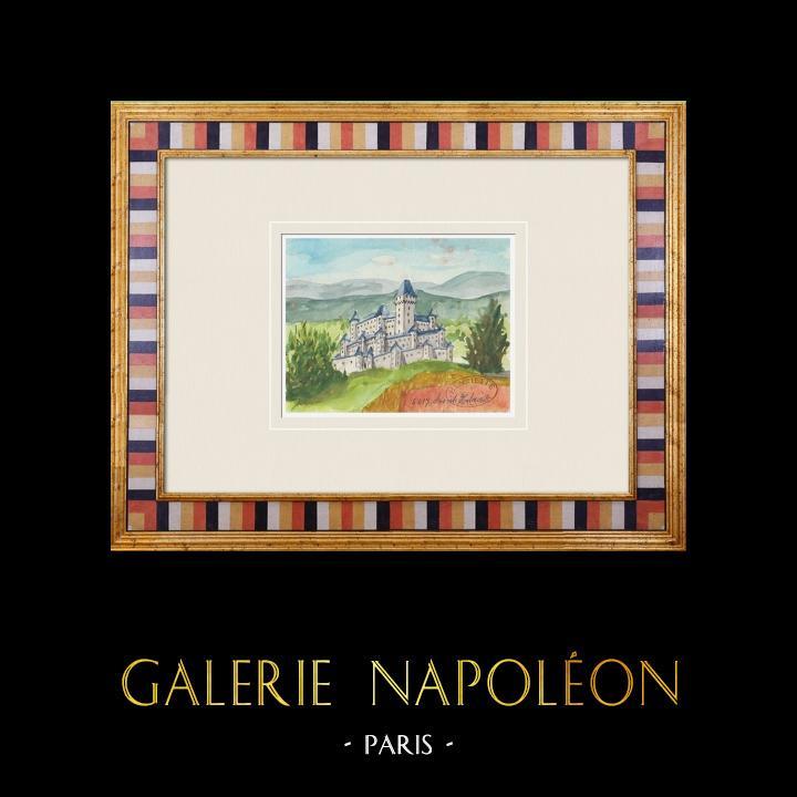 Gravures Anciennes & Dessins | Château imaginaire - Champagné-Saint-Hilaire - Vienne - France (Henriette Quillier) | Aquarelle | 1960