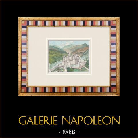 Imaginärt slott - La Tour - Yonne - Frankrike (Henriette Quillier) | Original akvarell på pappers måla av Henriette Quillier (1897-?). Konstnärens stämpel. 1960