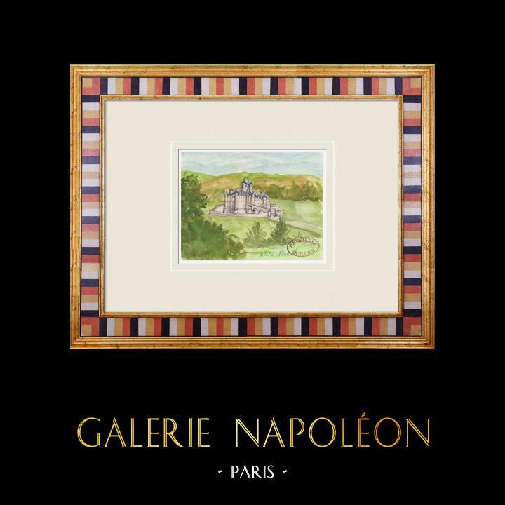 Antique Prints & Drawings | Imaginary Castle - Bodet - Vendée - France (Henriette Quillier) | Watercolor painting | 1960