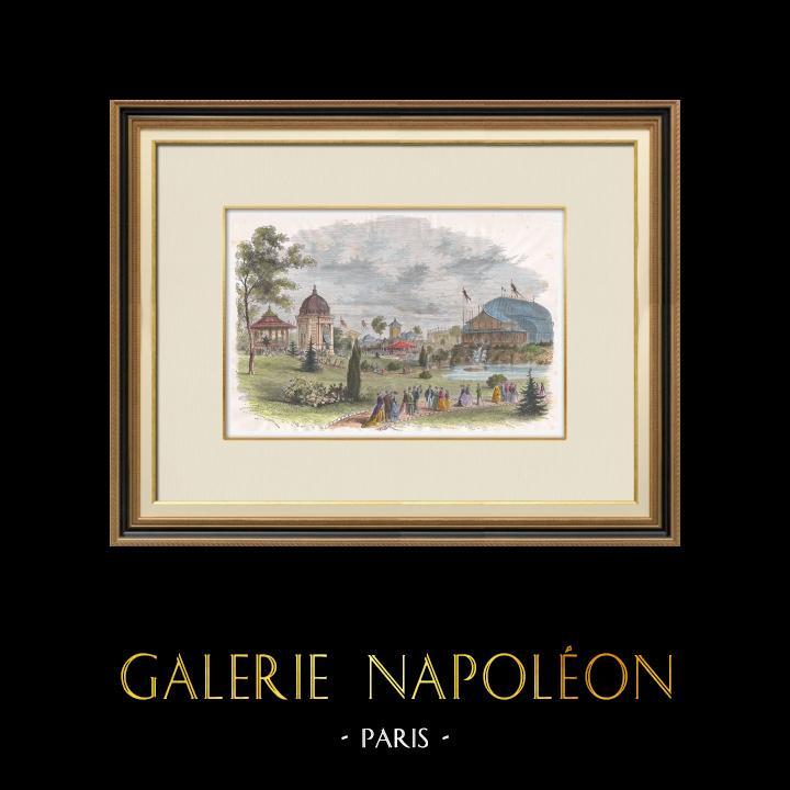 Gravures Anciennes & Dessins | Exposition Universelle de 1867 à Paris - Le Jardin Réservé - Champ-de-Mars | Gravure sur bois | 1867