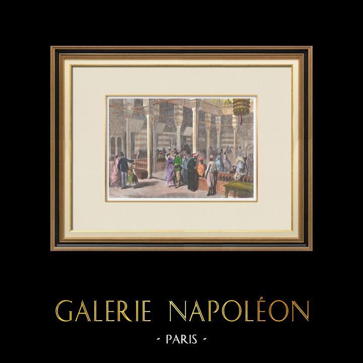 Antique Prints & Drawings | Paris Universal Exhibition of 1867 - Okel - Egypt - Caravanserai | Wood engraving | 1867
