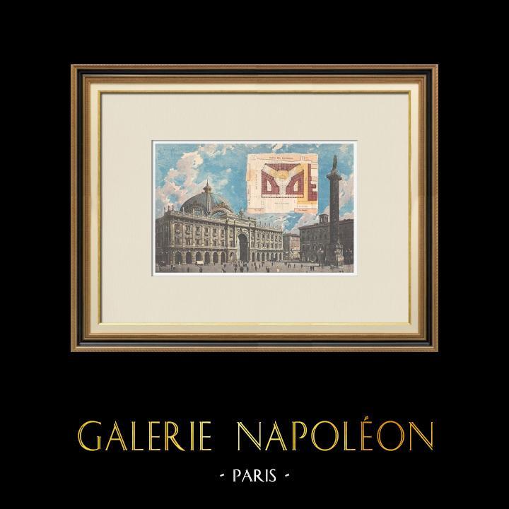 Gravures Anciennes & Dessins | Rome - Galleria Colonna - Piazza Colonna - Colonne de Marc-Aurèle - Italie - 1895 | Gravure sur bois | 1895