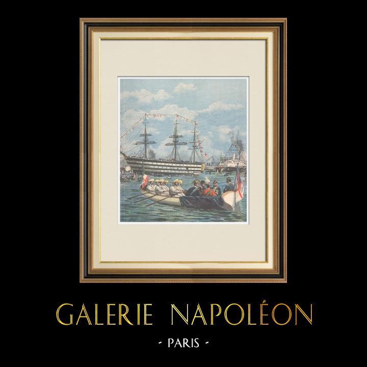Gravures Anciennes & Dessins | Duc de Gênes et Duc d'York visitent l'ancien navire de Nelson à Portsmouth - Angleterre - 1895 | Gravure sur bois | 1895