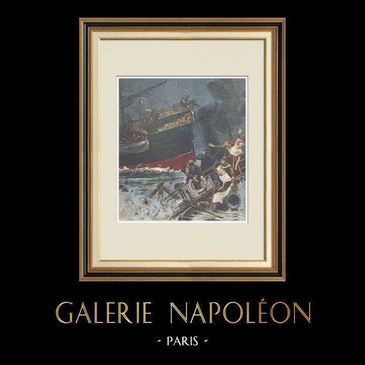 Gravures Anciennes & Dessins | Catastrophe maritime à l'Île du Tino - Ligurie - Italie - 1895 | Gravure sur bois | 1895