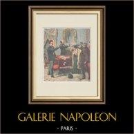 Arrestation de faux-monnayeurs à Naples - Italie - XIXème Siècle