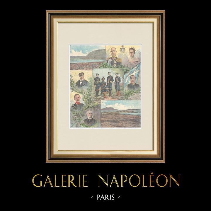 Gravures Anciennes & Dessins   Evénements de Candie - Crète - Portraits et Vues - XIXème Siècle   Gravure sur bois   1897