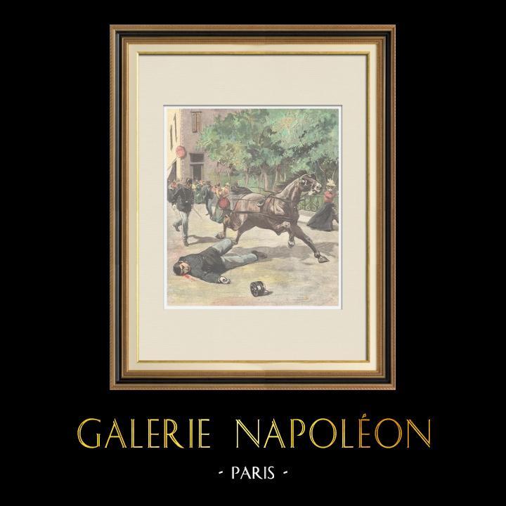 Gravures Anciennes & Dessins | Mort d'un garde par un cheval en fuite - Rome - 1897 | Gravure sur bois | 1897