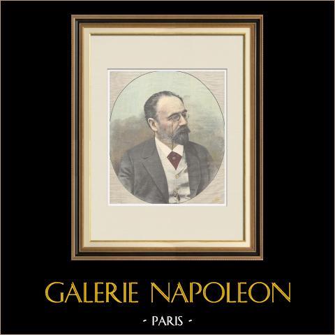 Portrait d'Émile Zola (1840-1902) | Gravure sur bois imprimée en chromotypographie gravée par Romagnoli & Zaniboni. Texte au verso. 1898