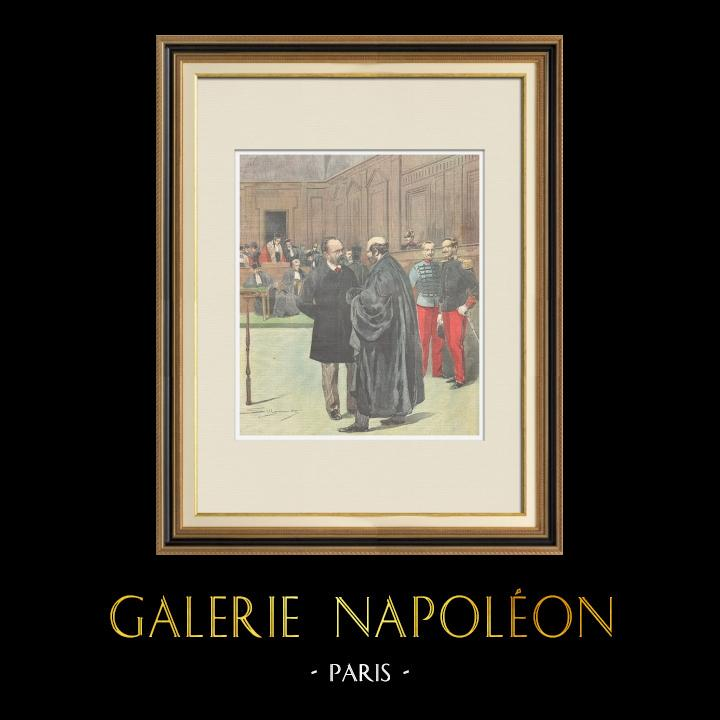 Antique Prints & Drawings | Trial of Émile Zola - Dreyfus affair - 1898 | Wood engraving | 1898
