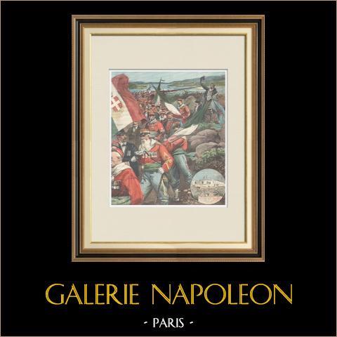 Hommage à Giuseppe Garibaldi - Pèlerinage à Caprera - Italie - 1898 | Gravure sur bois imprimée en chromotypographie gravée par Romagnoli & Zaniboni. Texte au verso. 1898