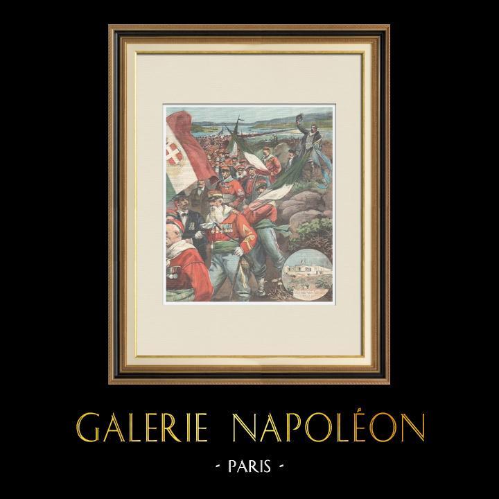 Antique Prints & Drawings | Tribute to Giuseppe Garibaldi - Pilgrimage in Caprera - Italy - 1898 | Wood engraving | 1898