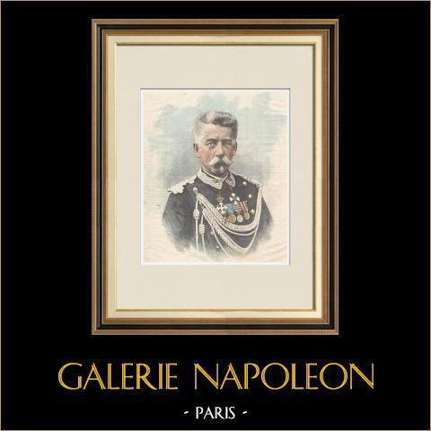 Porträt von Luigi Pelloux (1839-1924) | Original holzstich in chromotypographie gestochen von Romagnoli & Zaniboni. Text auf der rückseite. 1898