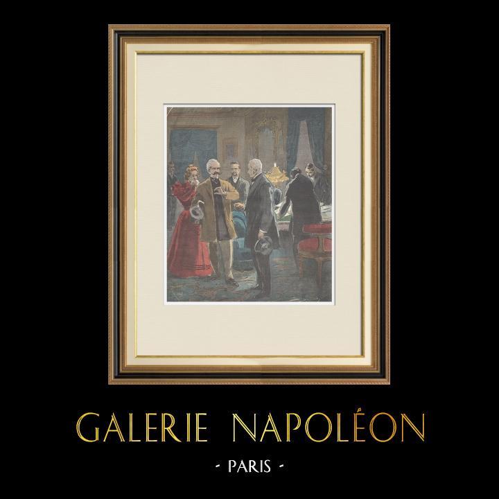 Gravures Anciennes & Dessins | Affaire Dreyfus - Arrestation du Commandant Esterhazy - Paris - 1898 | Gravure sur bois | 1898