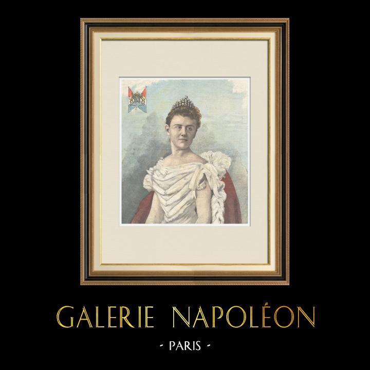 Gravures Anciennes & Dessins | Portrait de la Reine Wilhelmine des Pays-Bas (1880-1962) | Gravure sur bois | 1898