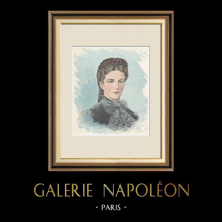 Gravures Anciennes & Dessins   Portrait de Élisabeth Impératrice d'Autriche (1837-1898)   Gravure sur bois   1898