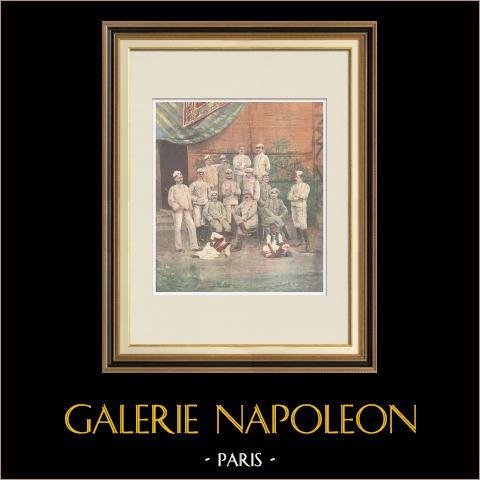 Bataillon - Chasseurs d'Afrique - Giuseppe Galliano und Offiziere - Italien - 1896 | Original holzstich in chromotypographie. Anonym. Text auf der rückseite. 1896