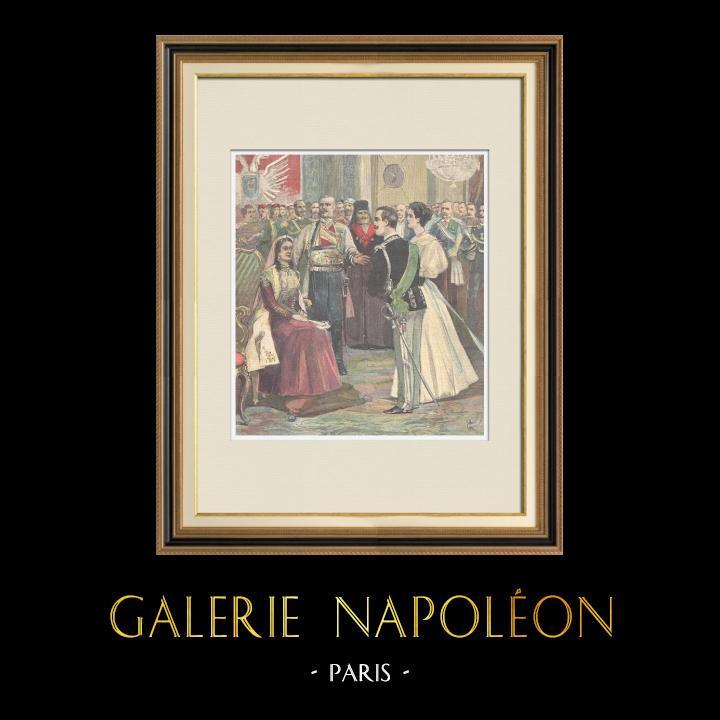 Gravures Anciennes & Dessins | Les fiançailles du Prince de Naples à Cetinje - Monténégro - 1896 | Gravure sur bois | 1896