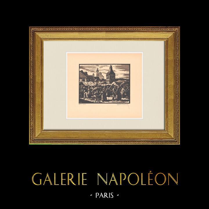 Gravures Anciennes & Dessins | Vue de Montluçon - Le Marché Place de la Poterie - Allier (France)  | Gravure sur bois | 1935
