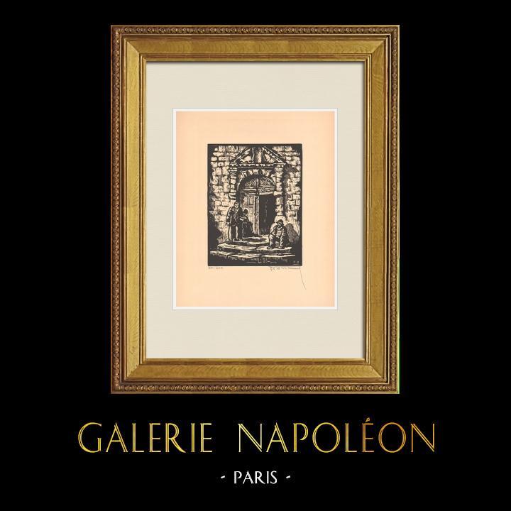 Antique Prints & Drawings   View of Montluçon - Guenillière de Notre-Dame - Allier (France)   Wood engraving   1935