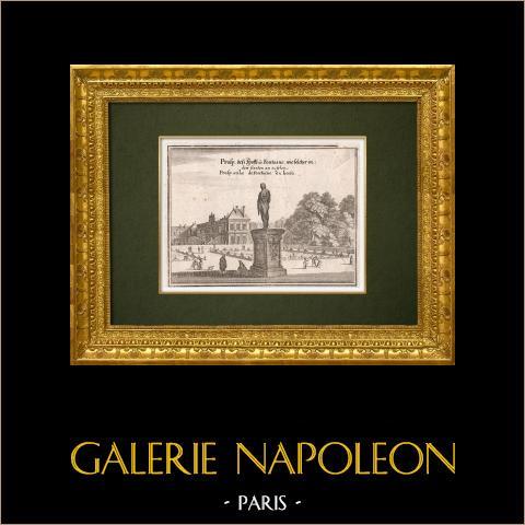 Vy över staden Paris på 1600-talet - Hotel de Fontaine - Trädgård - Staty (Frankrike) | Original kopparstick graverade av Merian. 1661