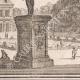 DÉTAILS 04   Vue de la ville de Paris au XVIIème siècle - Hotel de Fontaine - Jardin - Statue (France)