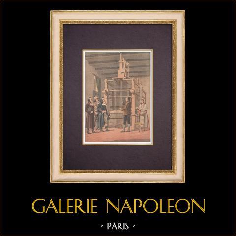 Invención del Telar de Jacquard - 1901 - Francia | Grabado xilográfico original impreso en cromotipografia. Anónimo. Reverso impreso. 1901