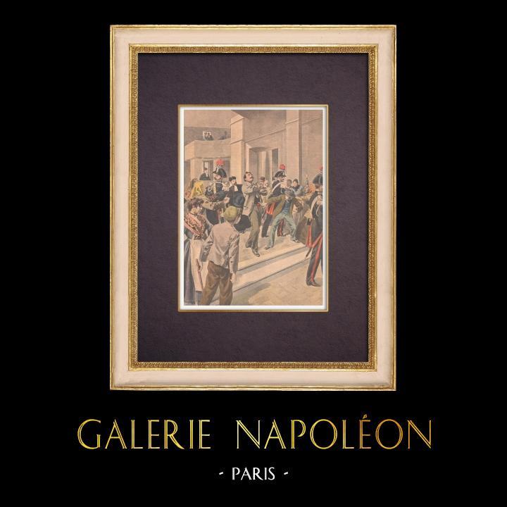 Gravures Anciennes & Dessins | Assassinat au Palais de justice de Naples - 1901 | Gravure sur bois | 1901